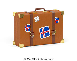 Suitcase with flag of iceland - Travel suitcase with flag of...