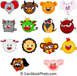 Cartoon chinese horoscope symbols of years: rat, cow, tiger,...