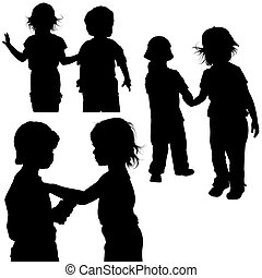 Childrens Games 06 - detailed silhouettes as illustrations