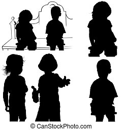 Childrens Games 07 - detailed silhouettes as illustrations