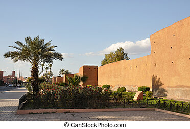 Old city wall in Marrakech