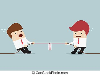 Businessmen in tug-of-war competition, VECTOR, EPS10