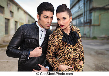 Close up picture of a young fashion couple - Handsome young...