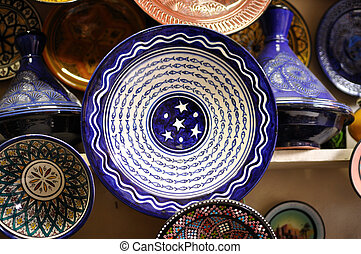 Colorful plates for sale in Marrakech, Morocco