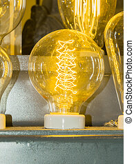 old carbon light bulb Filament, amber bulb