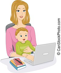 Online Chat - Illustration Featuring a Mother and Her Baby...