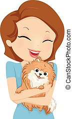 Dog Hug - Illustration Featuring a Girl Hugging Her Pet Dog