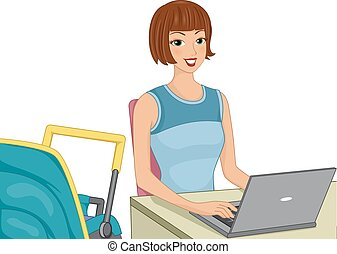 Work at Home Mom - Illustration Featuring a Work at Home Mom