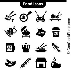 meat icons set - Vector Food and Meat Icons Set for web and...