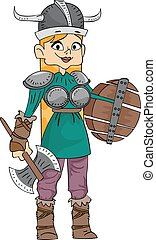 Viking Girl - Illustration Featuring a Woman Wearing a...