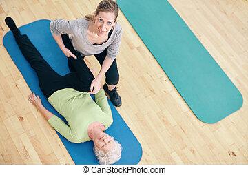 trainer, rek, vrouw, been, portie,  rehab, vrouwlijk,  senior