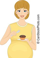 Pregnancy Cravings - Illustration Featuring a Pregnant...
