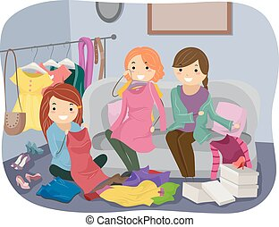 Clothes Swapping - Illustration Featuring a Group of Women...