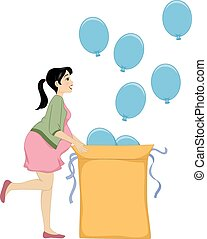 Gender Reveal - Illustration Featuring a Woman Revealing the...