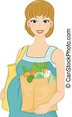 Pregnant Shopper - Illustration Featuring a Pregnant Woman...