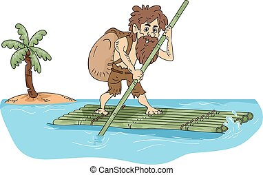 Castaway - Illustration Featuring a Male Castaway...