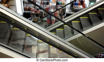 Moving escalator with stairs in big mall. HD. 1920x1080