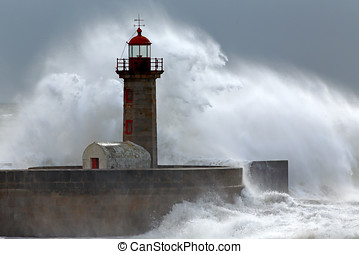 Huge wave over lighthouse - Huge wave over old lighthouse of...