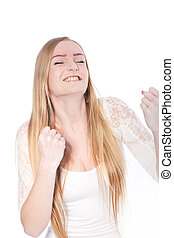 Successful Young Woman in Closed Fists Gesture - Close up...