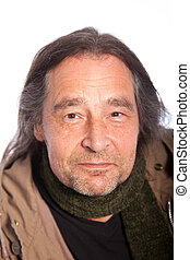 Close up Long Hair Smiling Adult Man - Close up Face of Long...