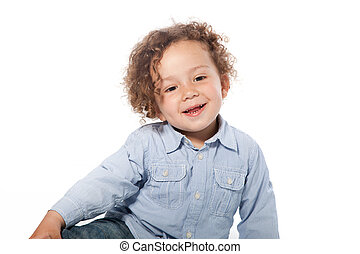 Cute Smiling Young Boy in Long Sleeve T-Shirt - Close up...