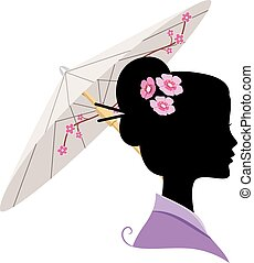 Japanese Silhouette - Illustration Featuring the Silhouette...