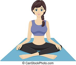 Yoga Girl - Illustration Featuring a Girl Sitting on a Yoga...