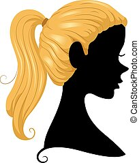 Ponytail Silhouette - Illustration Featuring the Silhouette...