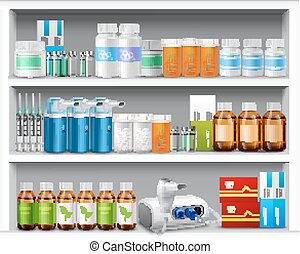 Pharmacy shelves realistic - Pharmacy shelves with medicine...