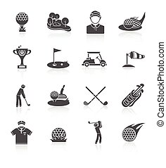 Golf icons set black - Golf game sport and activity black...