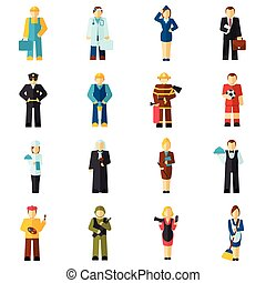 Avatar profession flat - Avatar professions flat avatars set...