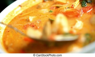 Thai soup, Shrimp And Mixed Vegetable in orange Spicy...