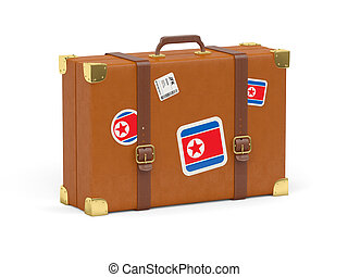 Suitcase with flag of north korea - Travel suitcase with...