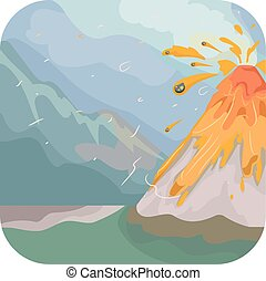 Volcanic Eruption - Illustration Featuring an Erupting...