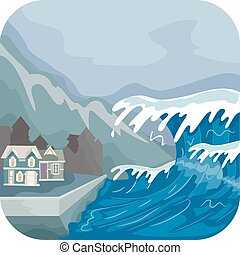 Tsunami - Illustration Featuring a Tsunami Engulfing a...