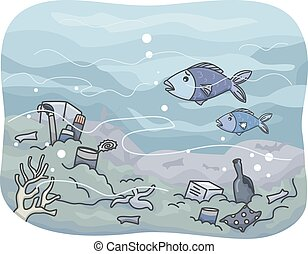 Underwater Garbage - Illustration Featuring Trash That Has...