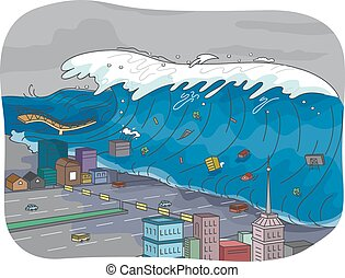 Tsunami - Illustration Featuring a Tsunami Engulfing a City