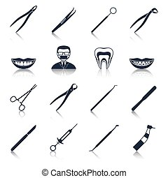 Dental instruments icons set black with health care...