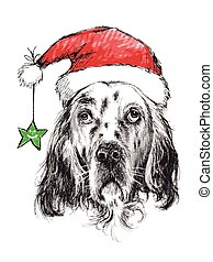English setter with santa claus hat and star , use for...
