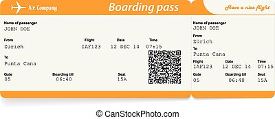 Vector image of airline boarding pass ticket with QR2 code....