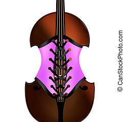 fiddle and corset - white background and a large abstract...