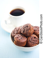 sweet dessert with chocolate and fruity jam - the sweet...