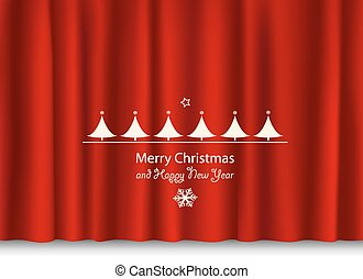 christmas and new year greeting on a red shiny curtain