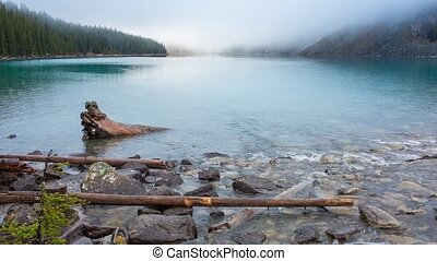 Moraine lake inlet creek in Banff National Park, Canada,...