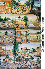 Thai mural painting of Thai people life in the past on...