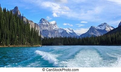 Track from a boat on the Maligne lake, Alberta, Canada
