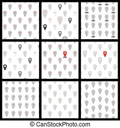 Seamless pattern of flat icons location. Vector set.