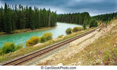 Canadian train - Canadian short train running along the...