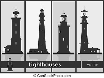 Lighthouses. Set of silhouettes of large lighthouses over grey background