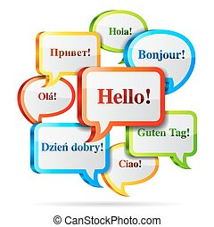 Hello speech bubbles - Group of color hello speech bubbles...